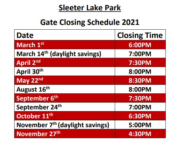 Park Closing Schedule 2021