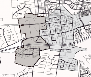 black and white map of town expansion